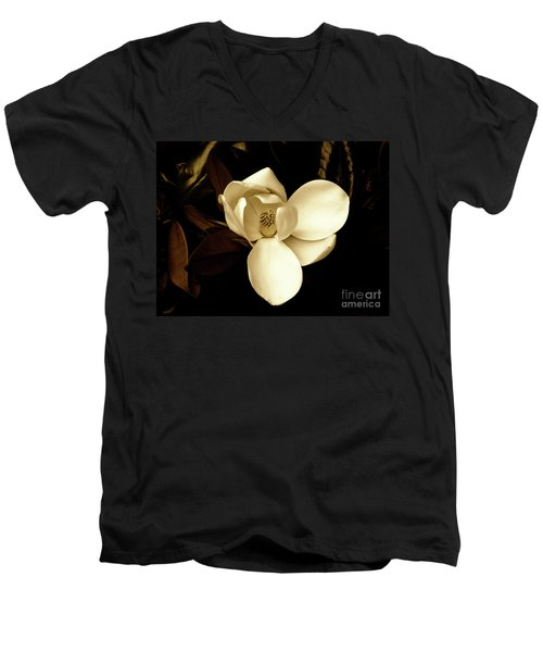 Sepia-toned Magnolia Men's V-Neck T-Shirt