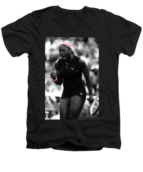 Serena Williams On Fire Men's V-Neck T-Shirt