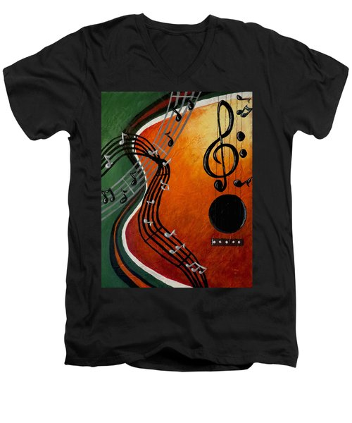 Men's V-Neck T-Shirt featuring the painting Serenade by Teresa Wing