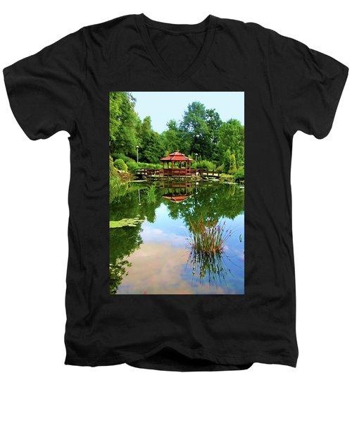 Serene Garden Men's V-Neck T-Shirt by Mariola Bitner