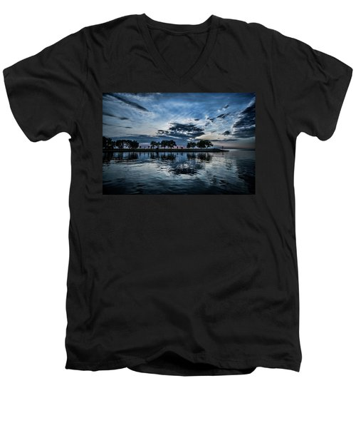 Serene Summer Water And Clouds Men's V-Neck T-Shirt