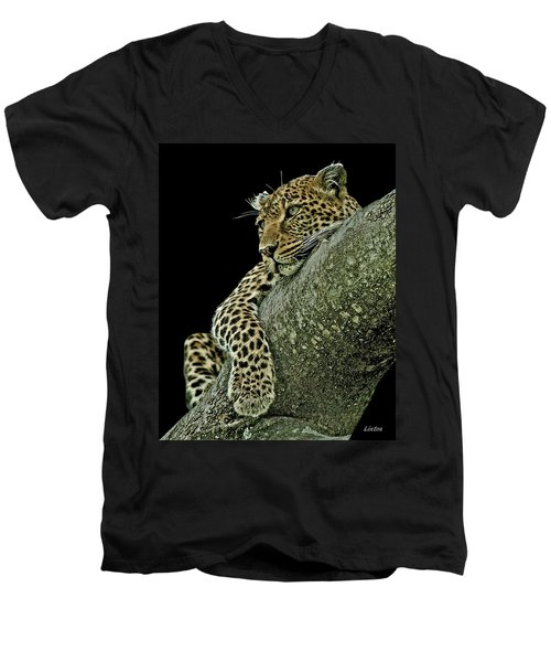 Serengeti Leopard 2a Men's V-Neck T-Shirt