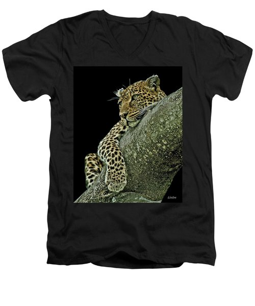Serengeti Leopard 2a Men's V-Neck T-Shirt