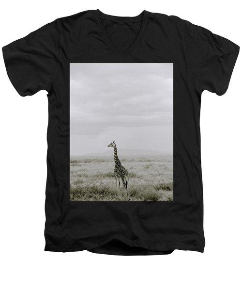Serengeti Solitude Men's V-Neck T-Shirt by Shaun Higson