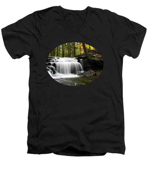 Serenity Waterfalls Landscape Men's V-Neck T-Shirt by Christina Rollo