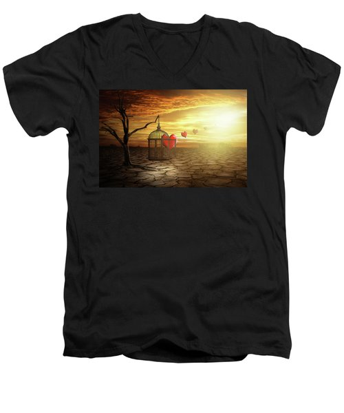 Men's V-Neck T-Shirt featuring the digital art Set Your Self Free by Nathan Wright