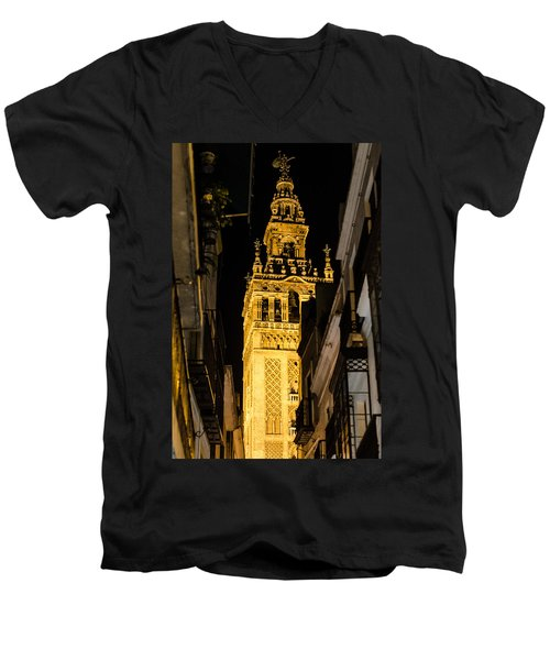 Seville - The Giralda At Night  Men's V-Neck T-Shirt