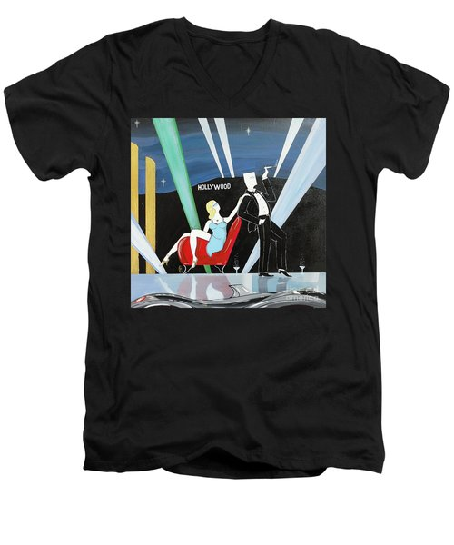 Sexy Starlet Sitting In Chair With Dashing Debonaire Date Men's V-Neck T-Shirt