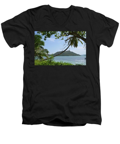 Men's V-Neck T-Shirt featuring the digital art Seychelles Islands 2 by Eva Kaufman