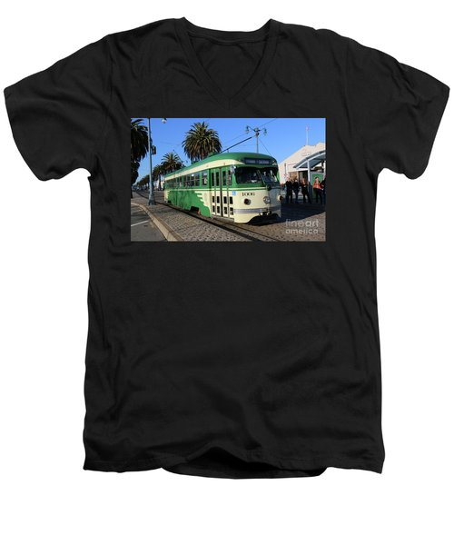 Sf Muni Railway Trolley Number 1006 Men's V-Neck T-Shirt