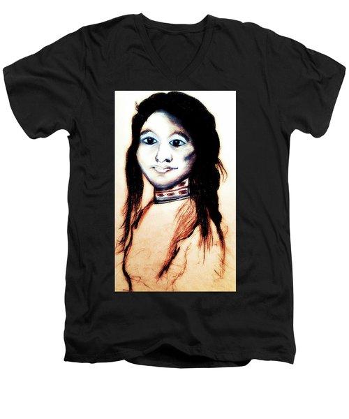 Sha Wen Ne Gun. 1857. Ojibwe Men's V-Neck T-Shirt by Ayasha Loya