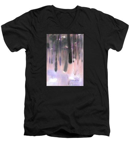 Men's V-Neck T-Shirt featuring the painting Shades Of Forest by Yolanda Koh