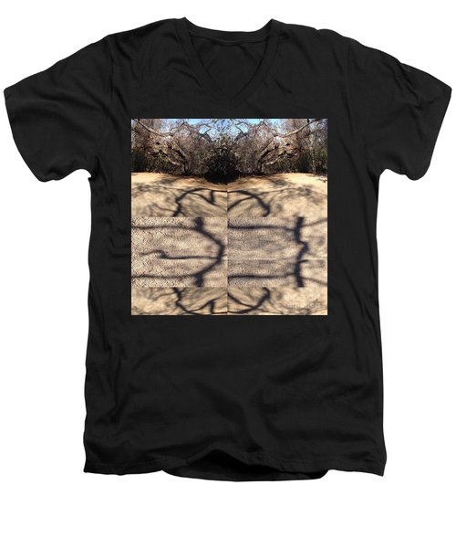 Shadow Crack Lines Men's V-Neck T-Shirt by Nora Boghossian