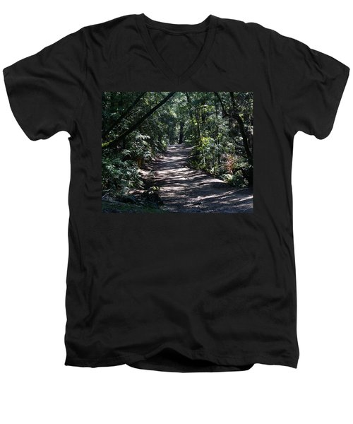 Shady Road On Mt Tamalpais Men's V-Neck T-Shirt