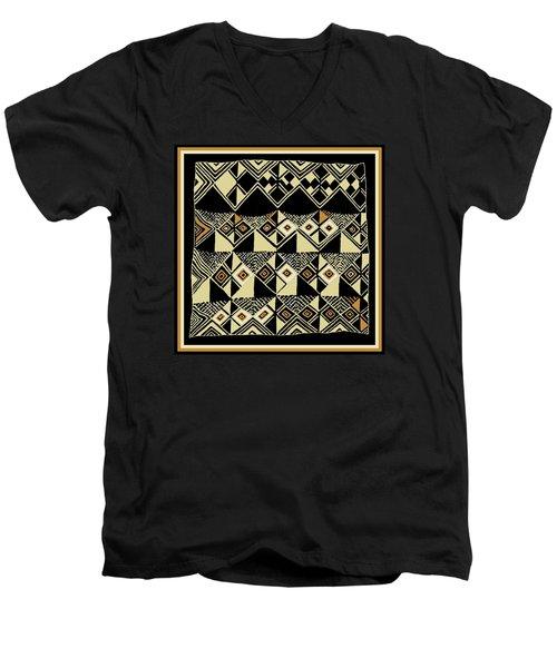 Men's V-Neck T-Shirt featuring the digital art Shaman Tribal Kuba by Vagabond Folk Art - Virginia Vivier