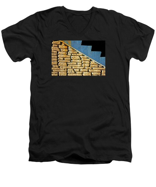 Men's V-Neck T-Shirt featuring the photograph Shapes And Forms Of Station Stairway by Gary Slawsky