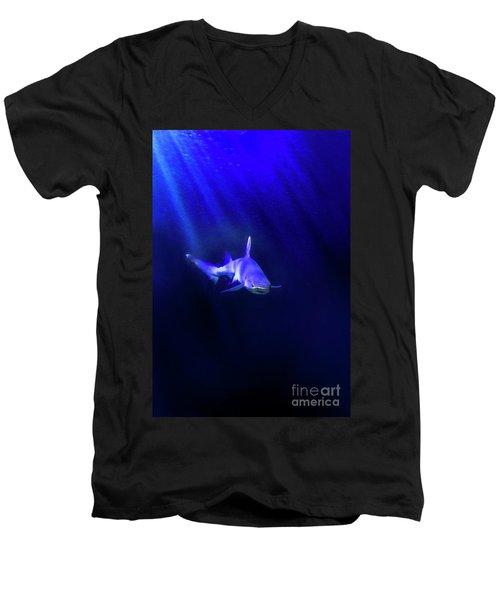 Men's V-Neck T-Shirt featuring the photograph Shark by Jill Battaglia