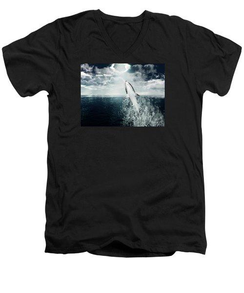 Men's V-Neck T-Shirt featuring the photograph Shark Watch by Digital Art Cafe