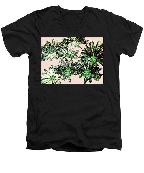 Shasta Daisies Watercolor Sketch Men's V-Neck T-Shirt by Merton Allen