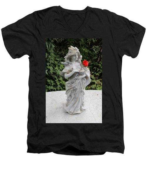 Men's V-Neck T-Shirt featuring the photograph She Includes The Rose by Marie Neder