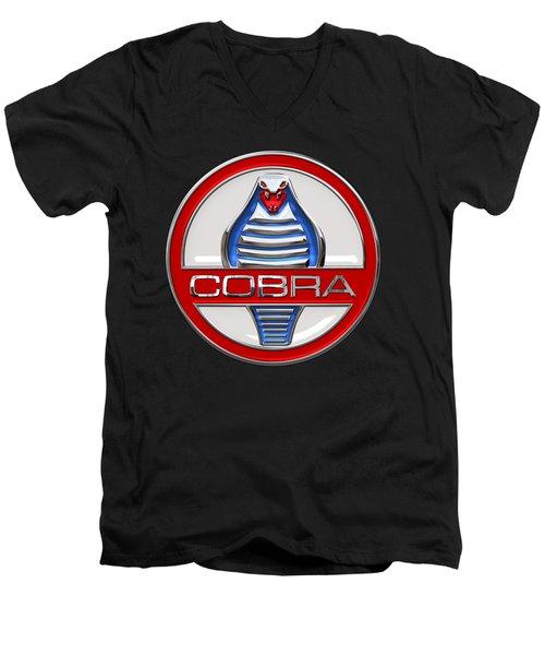 Shelby Ac Cobra - Original 3d Badge On Black Men's V-Neck T-Shirt by Serge Averbukh