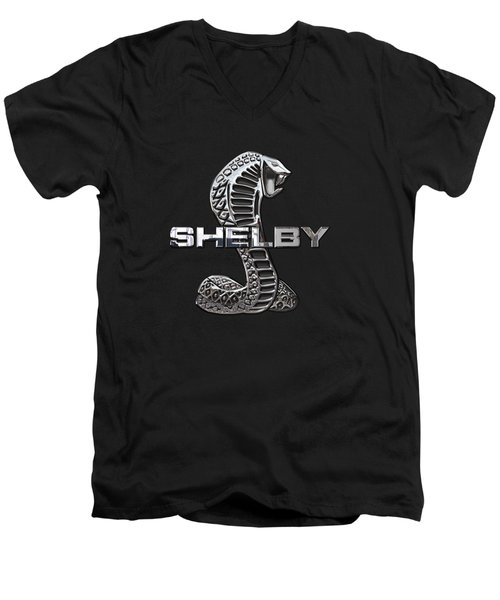 Shelby Cobra - 3d Badge On Black Men's V-Neck T-Shirt by Serge Averbukh