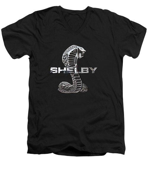 Shelby Cobra - 3d Badge On Black Men's V-Neck T-Shirt