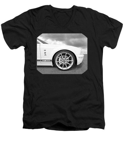 Shelby Gt500 Wheel Black And White Men's V-Neck T-Shirt by Gill Billington