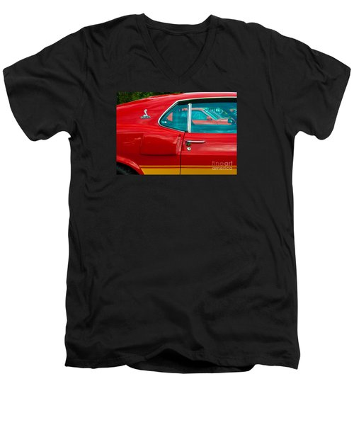 Red Shelby Mustang Side View Men's V-Neck T-Shirt
