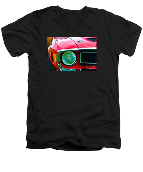 Red Shelby Mustang Men's V-Neck T-Shirt