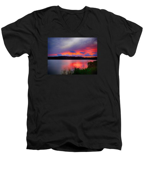 Men's V-Neck T-Shirt featuring the photograph Shelf Cloud At Sunset by Bill Barber