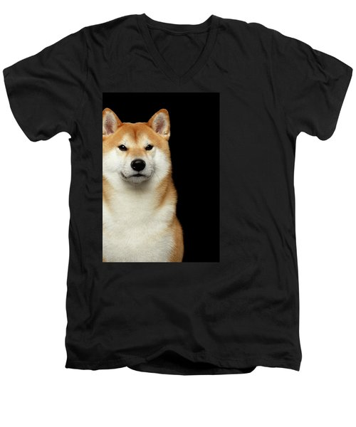 Shiba Inu Men's V-Neck T-Shirt by Sergey Taran