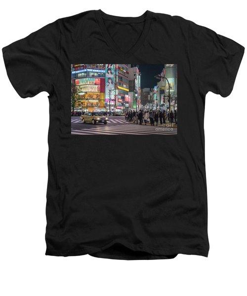Shibuya Crossing, Tokyo Japan Men's V-Neck T-Shirt