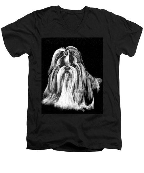 Men's V-Neck T-Shirt featuring the drawing Shih Tzu by Rachel Hames