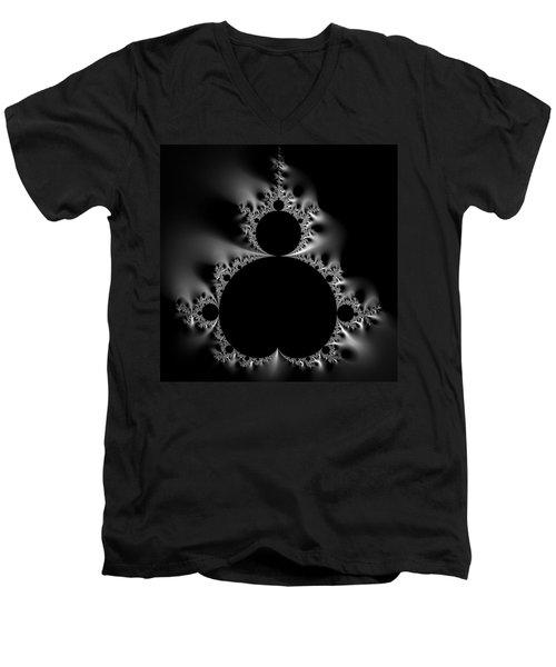 Shiny Cool Mandelbrot Set Black And White Men's V-Neck T-Shirt