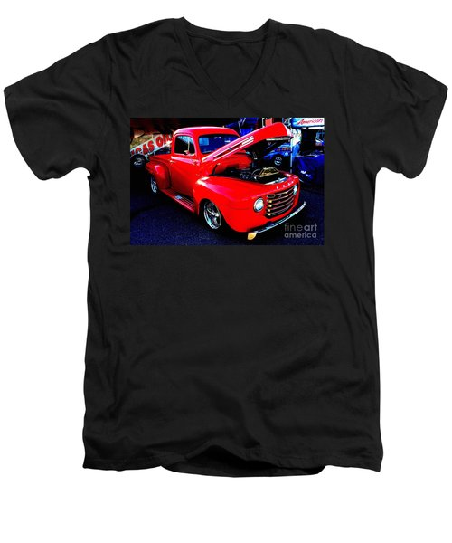Shiny Red Ford Truck Men's V-Neck T-Shirt