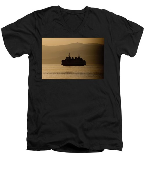 Men's V-Neck T-Shirt featuring the digital art Ship by Bruno Spagnolo
