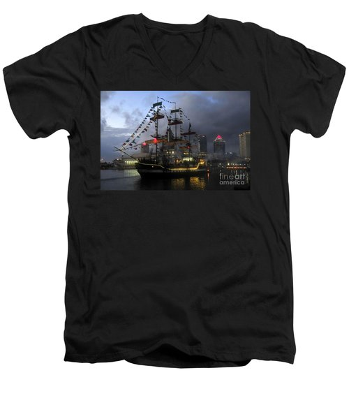 Ship In The Bay Men's V-Neck T-Shirt by David Lee Thompson