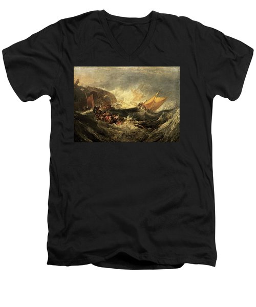 Men's V-Neck T-Shirt featuring the painting Shipwreck Of The Minotaur by J M William Turner