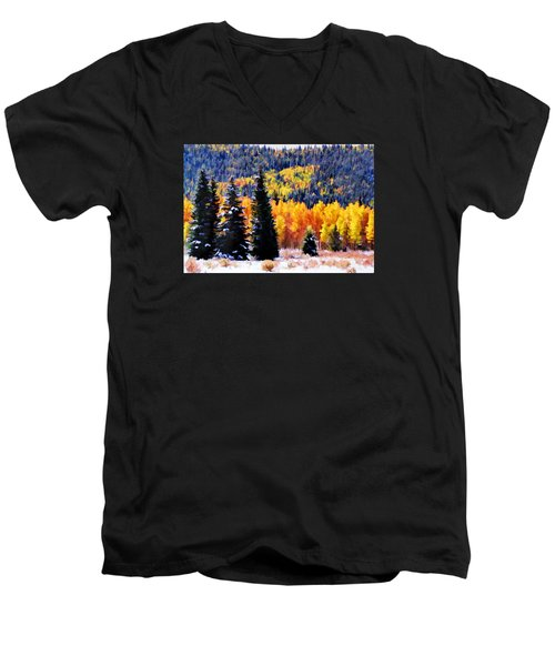 Men's V-Neck T-Shirt featuring the photograph Shivering Pines In Autumn by Diane Alexander