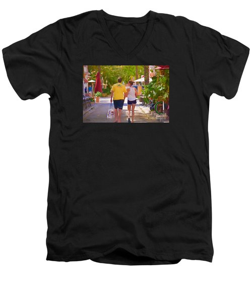 Men's V-Neck T-Shirt featuring the photograph Shopping Miami Style by Judy Kay