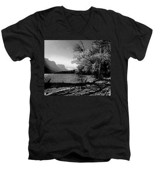 Shoreline Black And White Men's V-Neck T-Shirt