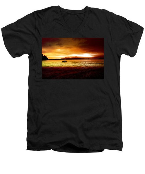 Shores Of The Soul Men's V-Neck T-Shirt by Holly Kempe