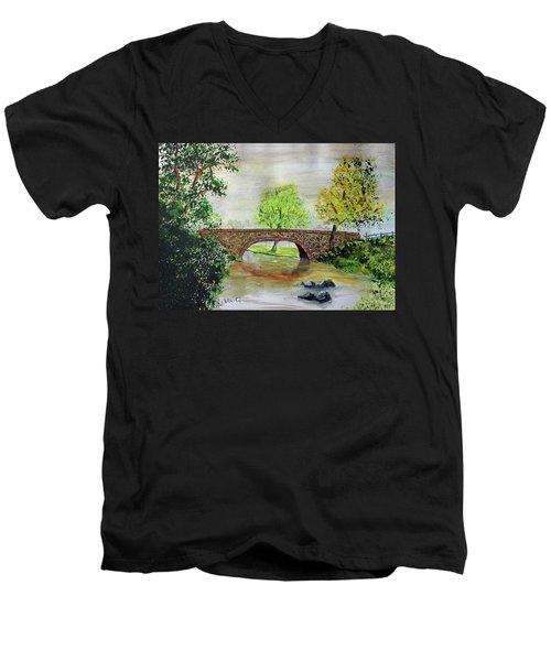 Shortcut Bridge Men's V-Neck T-Shirt by Jack G Brauer