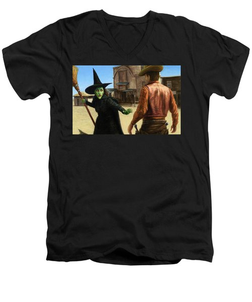 Men's V-Neck T-Shirt featuring the painting Showdown by James W Johnson
