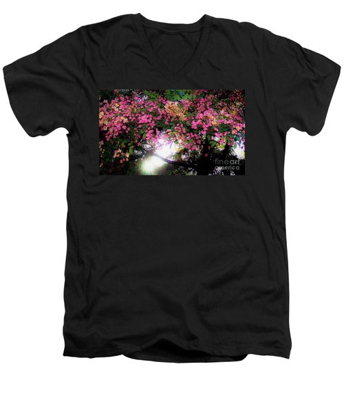 Shower Tree Flowers And Hawaii Sunset Men's V-Neck T-Shirt