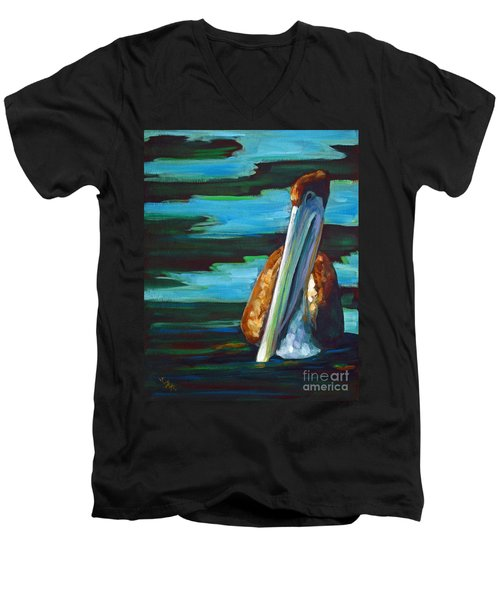 Men's V-Neck T-Shirt featuring the painting Shy Brownie by Suzanne McKee
