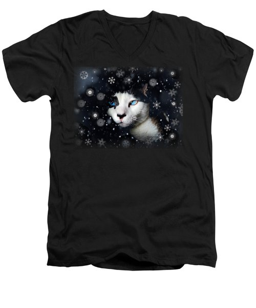 Siamese Cat Snowflakes Image   Men's V-Neck T-Shirt