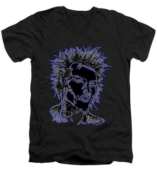 Sid Vicious Of The Sex Pistols Neon Men's V-Neck T-Shirt