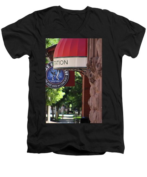 Sidewalk View Jazz Station  Men's V-Neck T-Shirt
